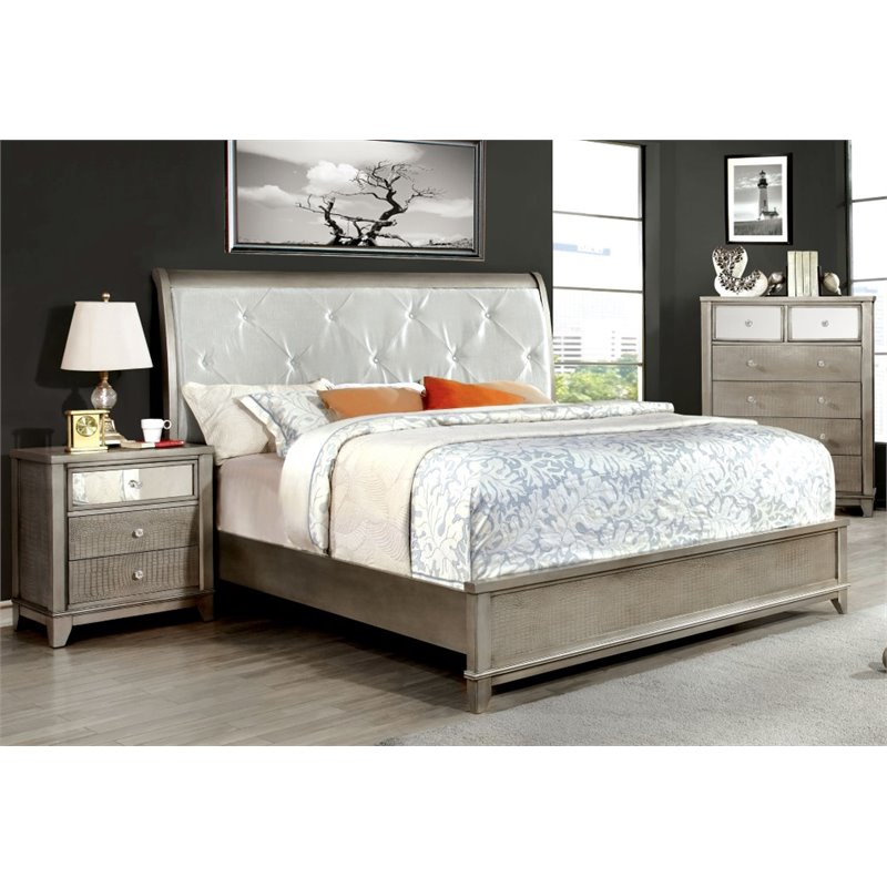 Furniture of America Lilliane 3 Piece Queen  Sleigh Bedroom Set in Espresso