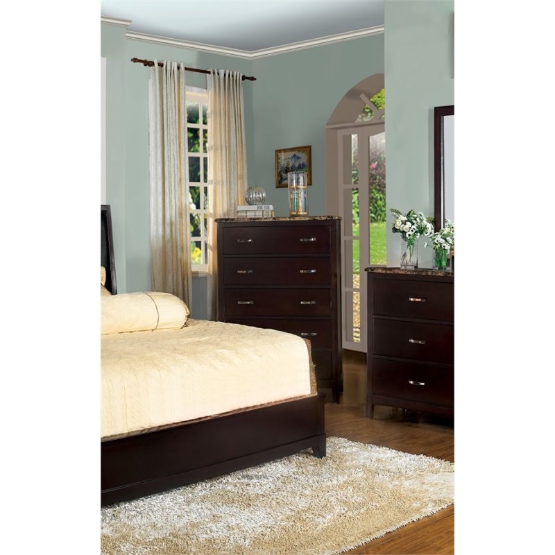 Furniture of America Milford 5 Drawer Chest in Dark Brown