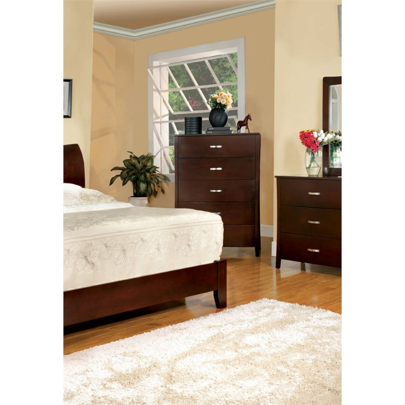 Furniture of America Ownby 5 Drawer Chest in Brown Cherry