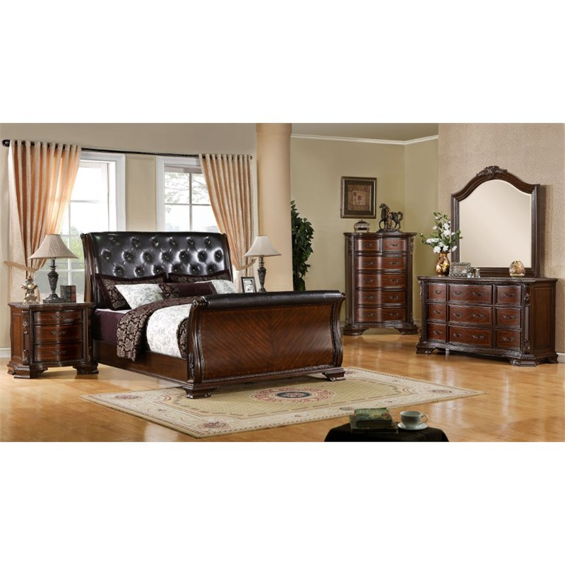 Furniture of America Hulga 4 Piece California King Bedroom Set