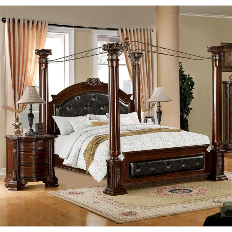 Furniture of America Luxon 2 Piece King Canopy Bedroom Set