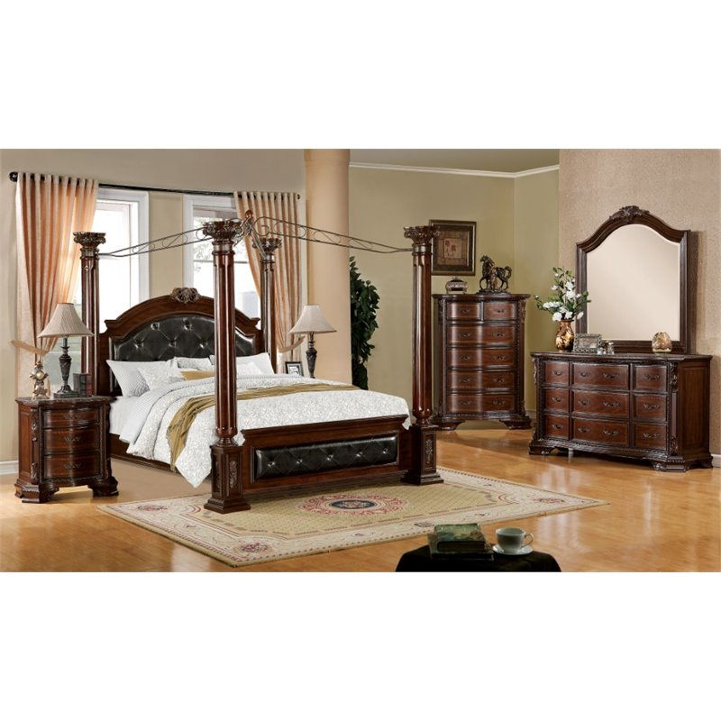 Furniture of America Luxon 4 Piece King Canopy Bedroom Set