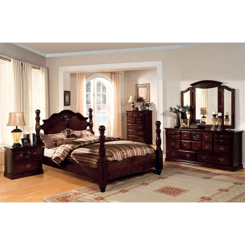 Furniture of America Cathie 4 Piece King Bedroom Set