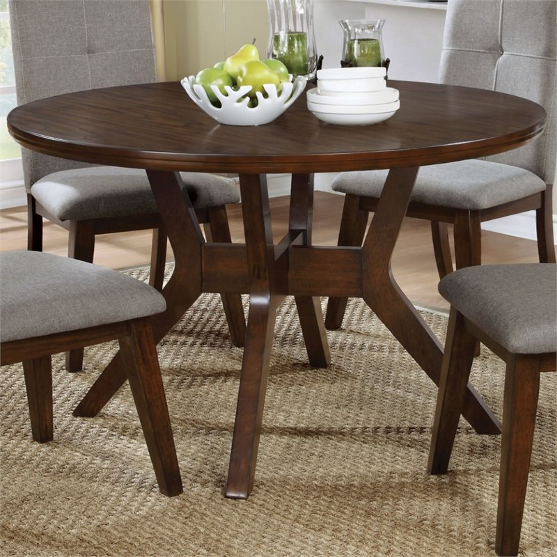 Furniture of America Mecca Round Dining Table in Walnut