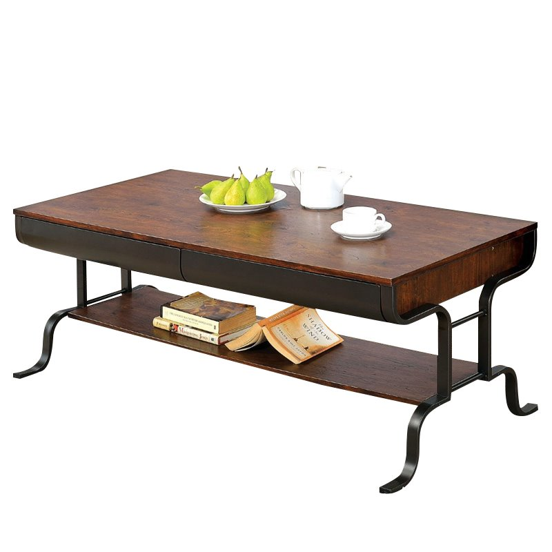 Furniture of America Morton Coffee Table in Antique Oak