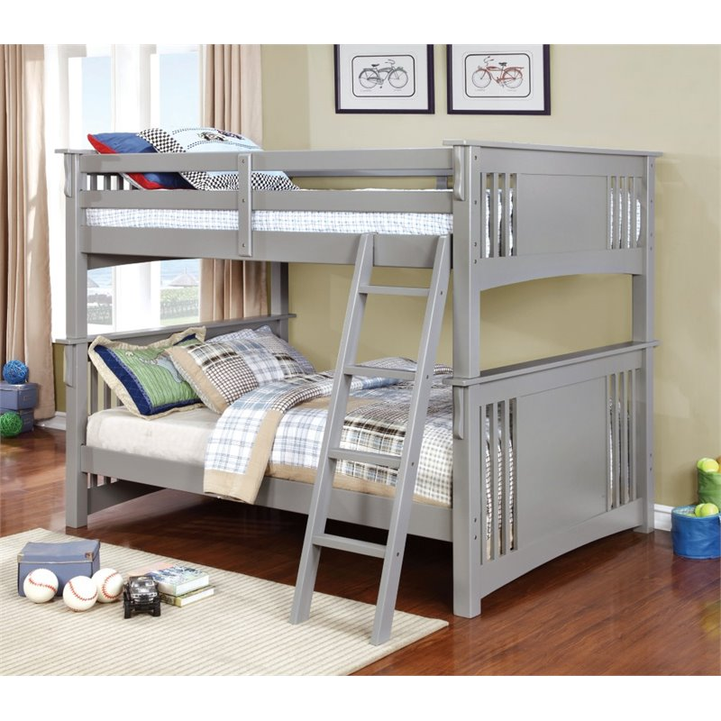Furniture of America Landry Full Over Full Bunk Bed in Gray