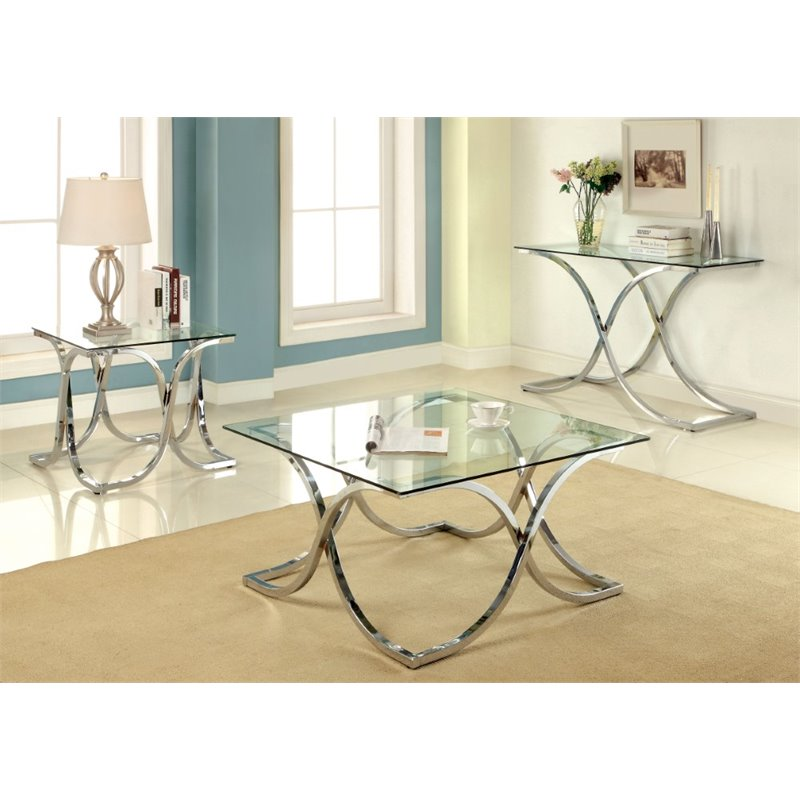 Furniture of America Sarif 3 Piece Coffee Table Set in Chrome
