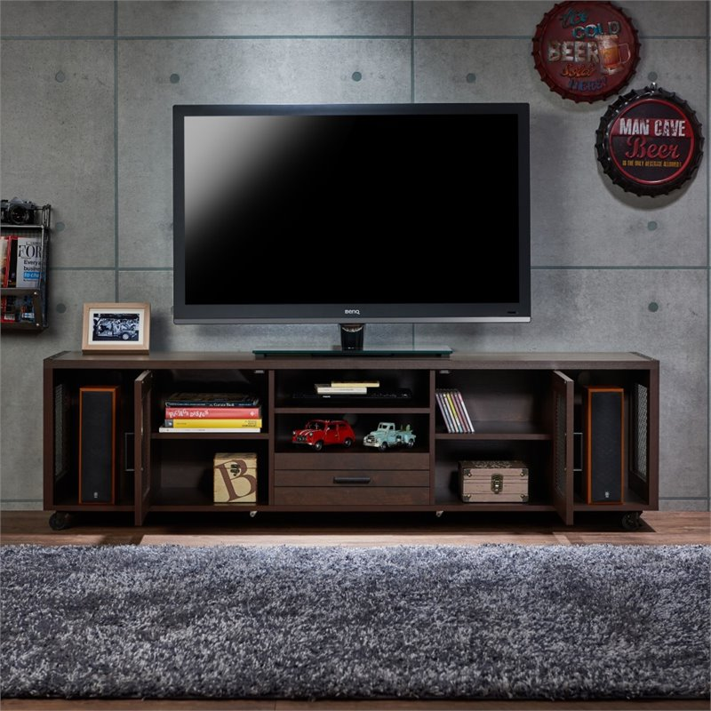 Furniture of America Gamora 70 Industrial TV Stand in Vintage Walnut