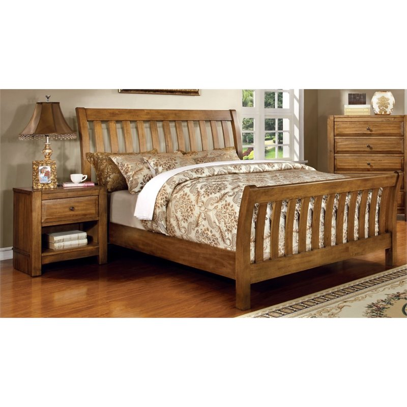 Furniture of America Leanna 2 Piece Queen  Slat Bedroom Set in Rustic Oak