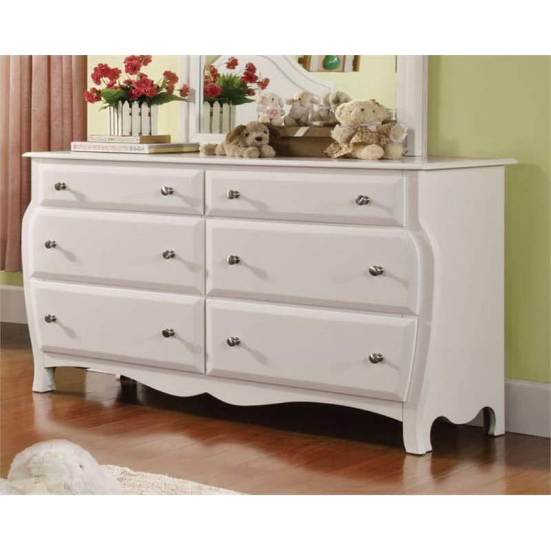 Furniture of America Palon 6 Drawer Dresser in White