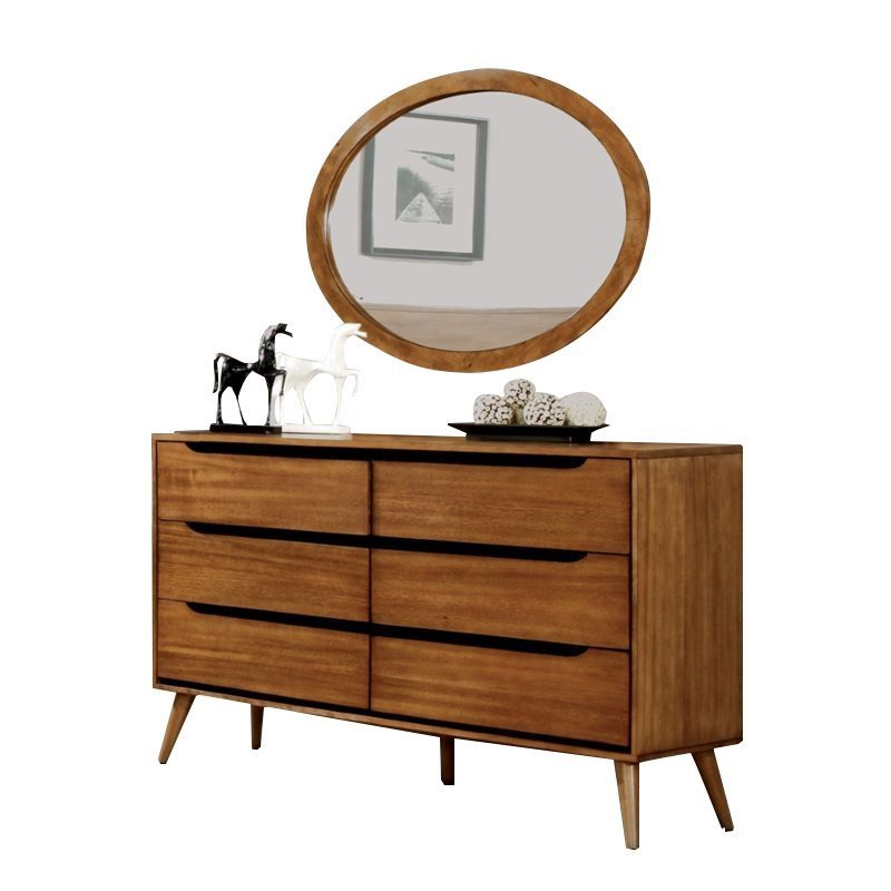 Furniture of America Farrah 6 Drawer Dresser Oval Mirror Set in Oak