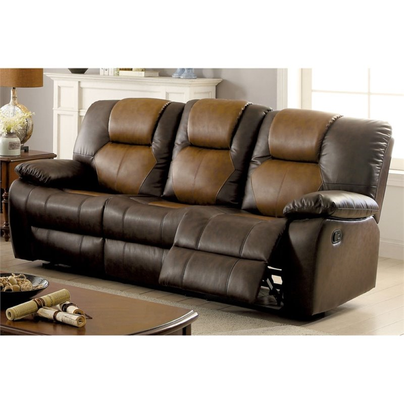 Furniture of America Aberdeen Reclining Sofa in Dark and Light Brown