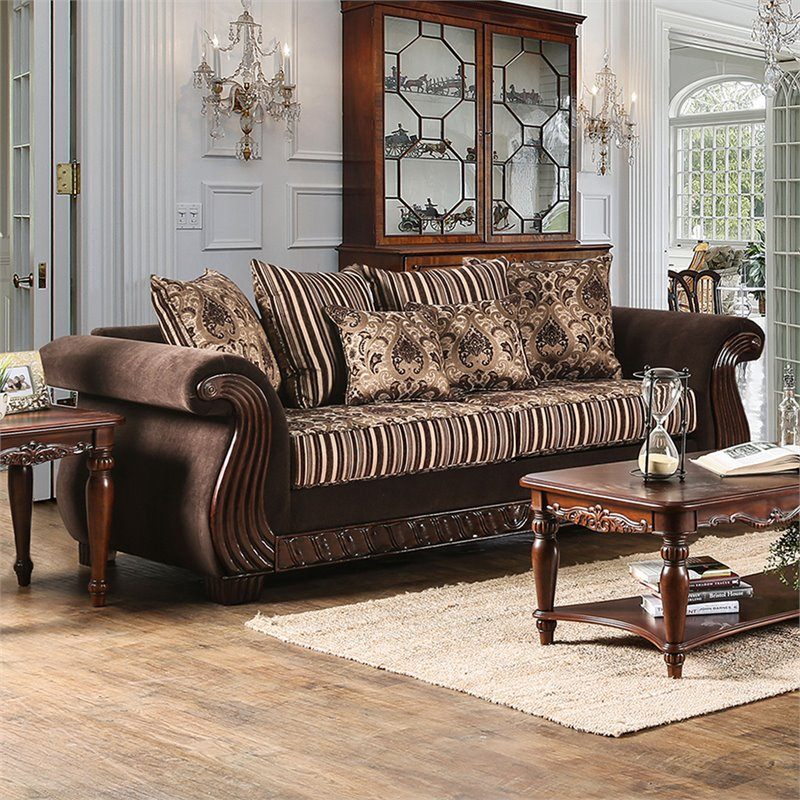 Furniture of America Kirby Chenille Sofa in Brown