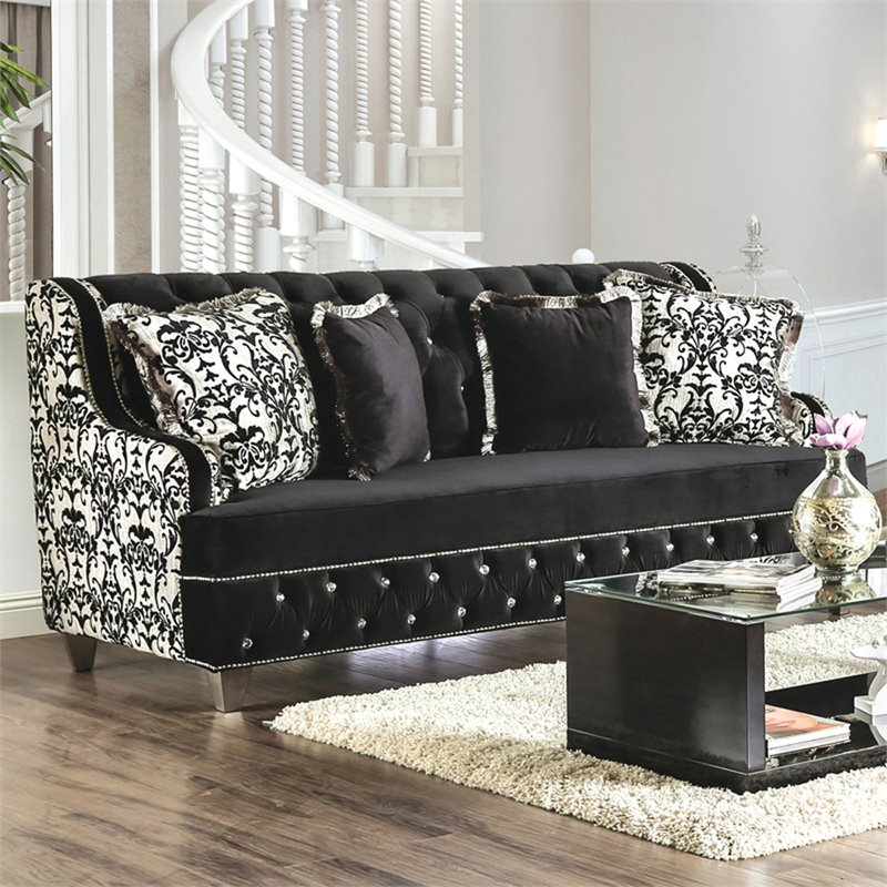 Furniture of America Lain Damask Fabric Sofa in Black