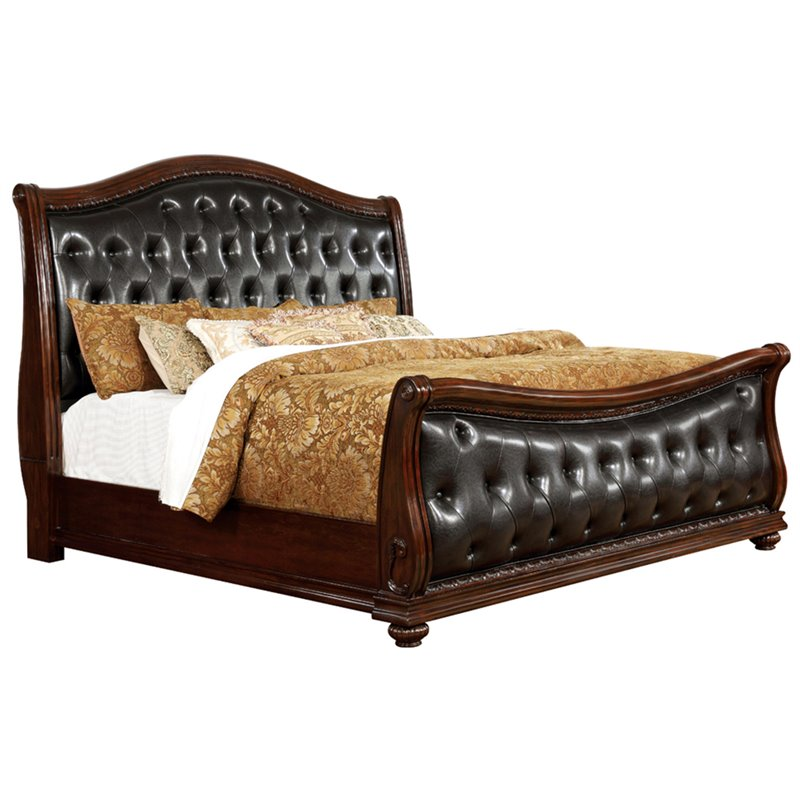 Furniture of America Amy Tufted California King Sleigh Bed in Cherry