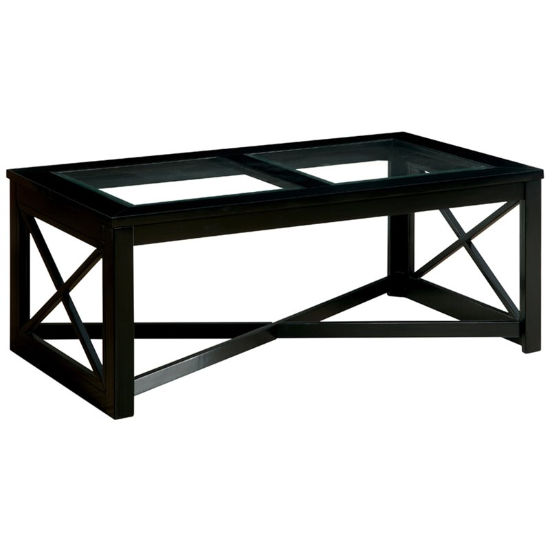 Furniture of America Pyxel Glass Top Coffee Table in Black