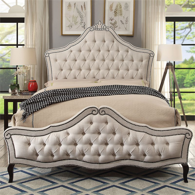Furniture of America Baron Upholstered King Bed in Beige