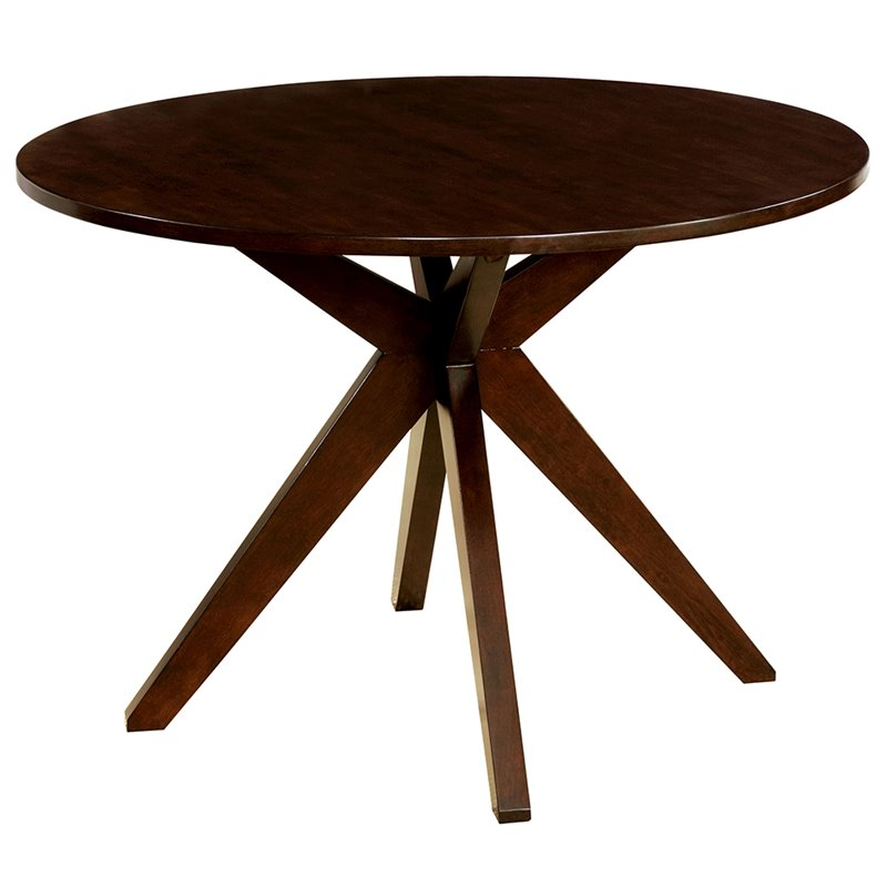 Furniture of America Xello Round Dining Table in Brown Cherry