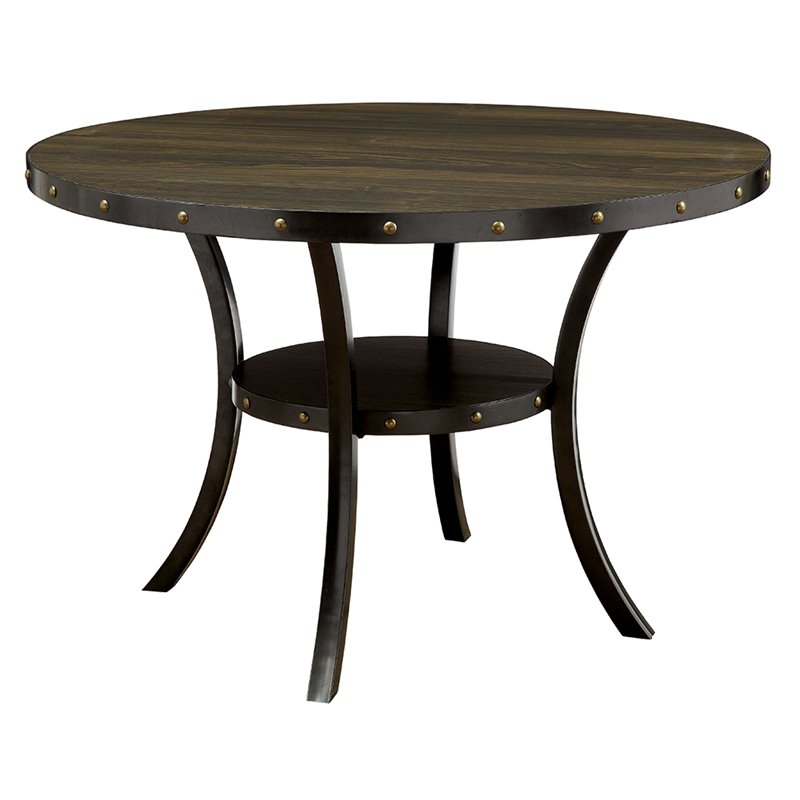 Furniture of America Boelin Round Dining Table in Light Walnut