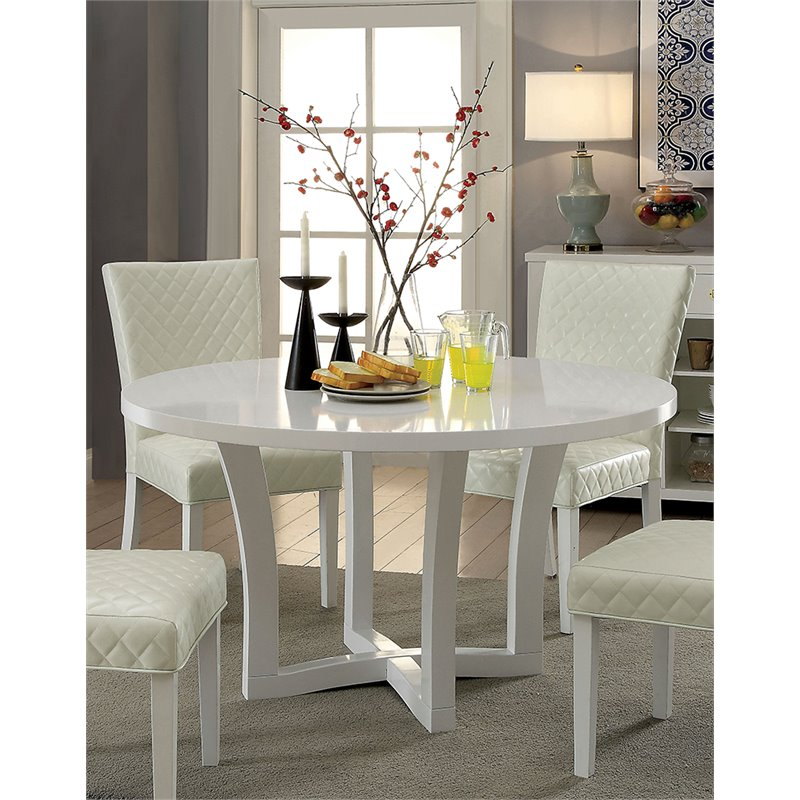 Furniture of America Fairway Round Dining Table in White