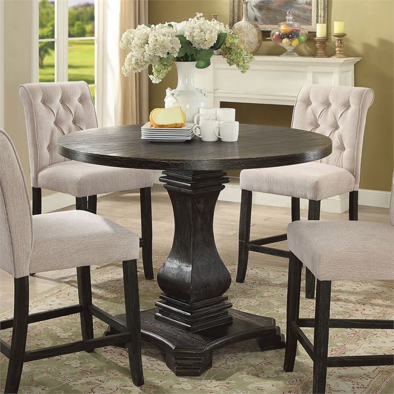 Furniture of America Selene Pedestal Counter Height Dining Table
