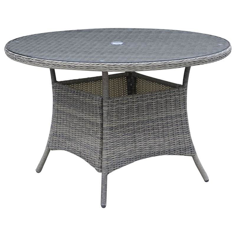 Furniture of America Kender 47 Round Patio Dining Table in Gray