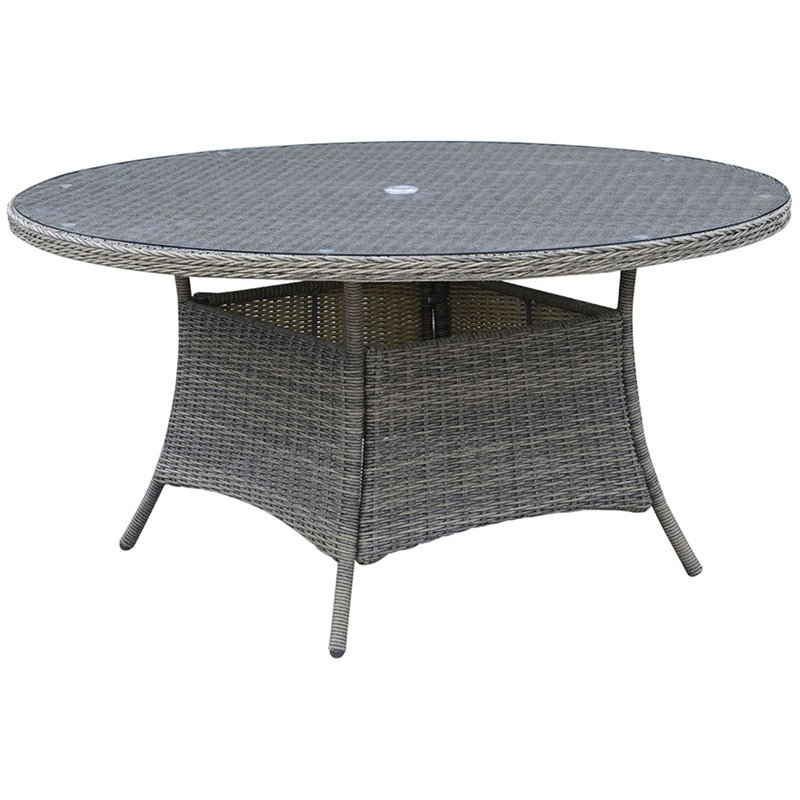 Furniture of America Kender 59 Round Patio Dining Table in Gray