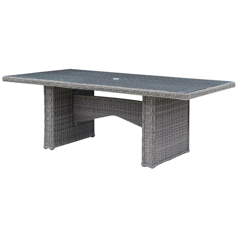 Furniture of America Nello Glass Top Patio Dining Table in Gray