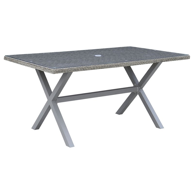 Furniture of America Esso Patio Dining Table in Gray