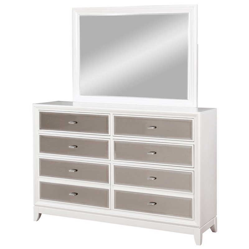 Furniture of America Aloka 8 Drawer Dresser and Mirror Set in White