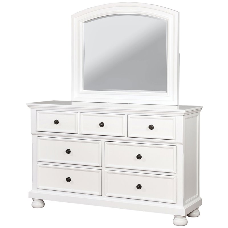 Furniture of America Ainsley 7 Drawer Dresser and Mirror Set in White