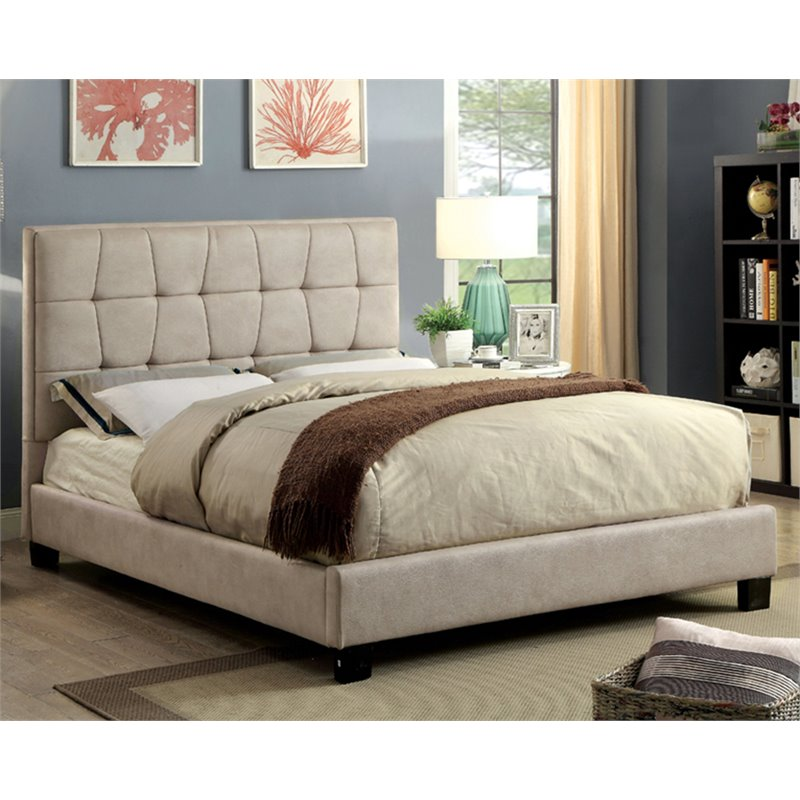 Furniture of America Lesa Faux Leather Full Platform Bed in Beige