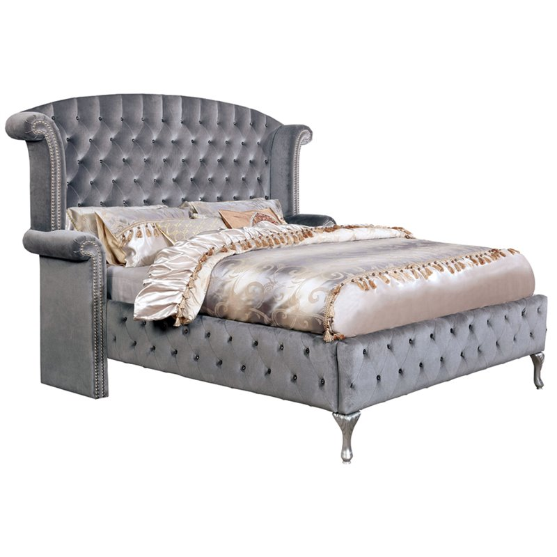 Furniture of America Vera Tufted California King Wingback Bed in Gray