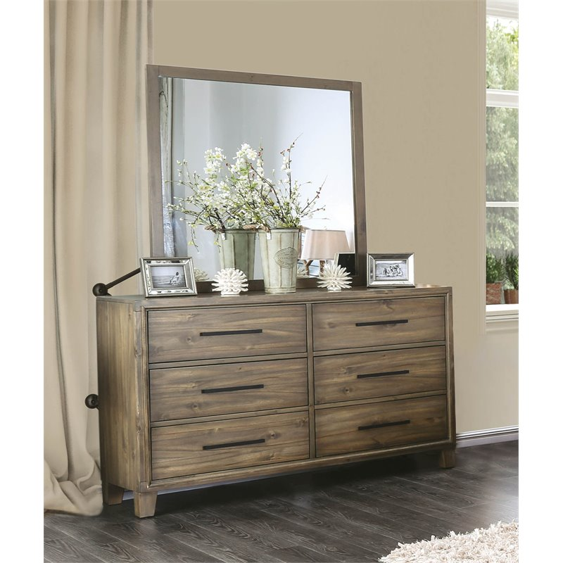 Furniture of America Ron 6 Drawer Dresser and Mirror Set in Light Oak