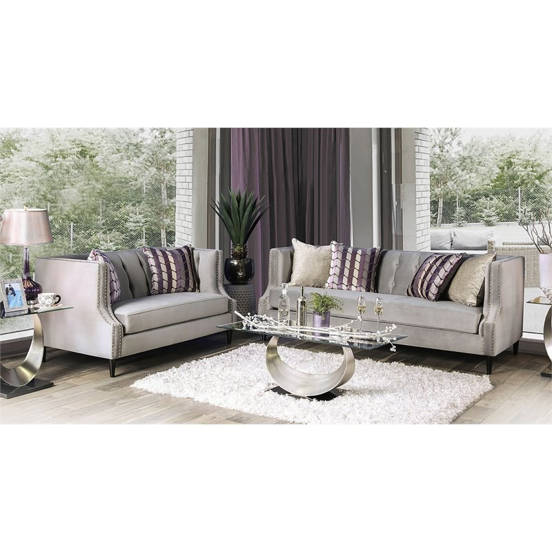 Furniture of America Leona Transitional 2 Piece Sofa Set in Gray