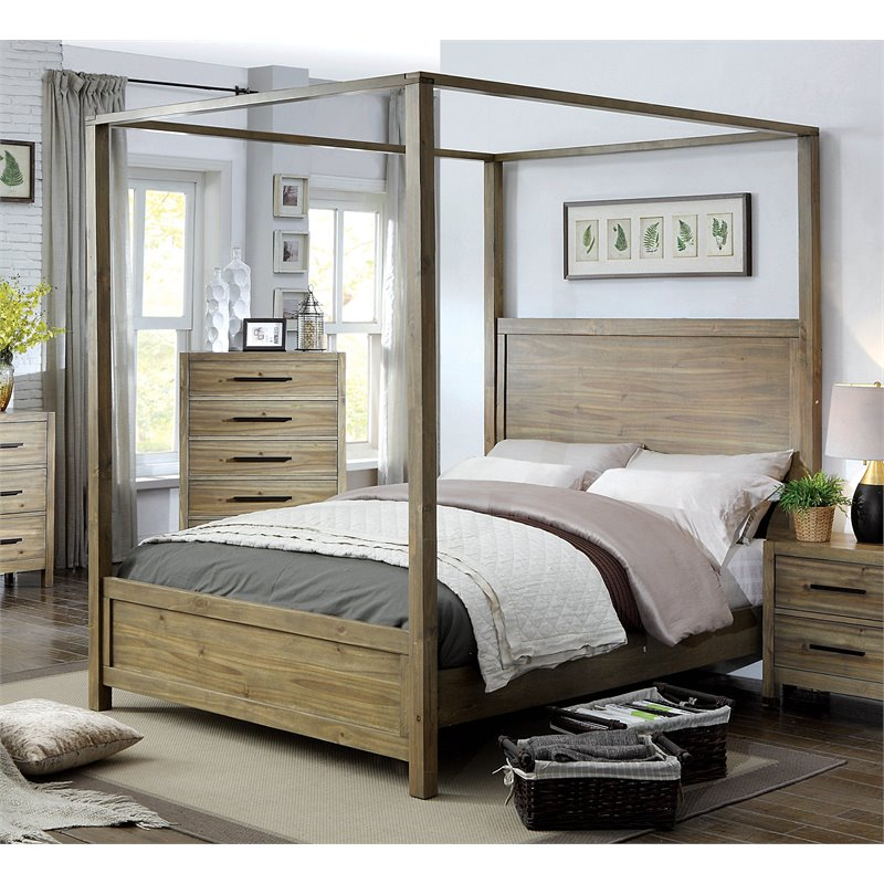 Furniture of America Mark Queen Canopy Bed in Light Oak