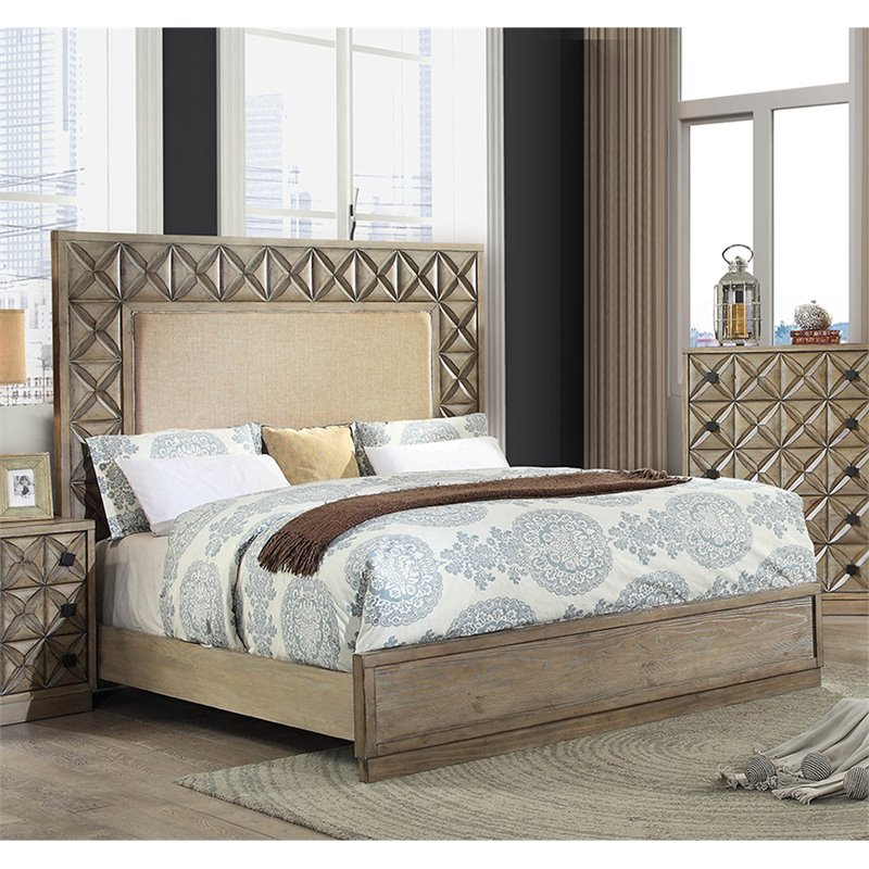 Furniture of America Perry California King Panel Bed in Light Oak