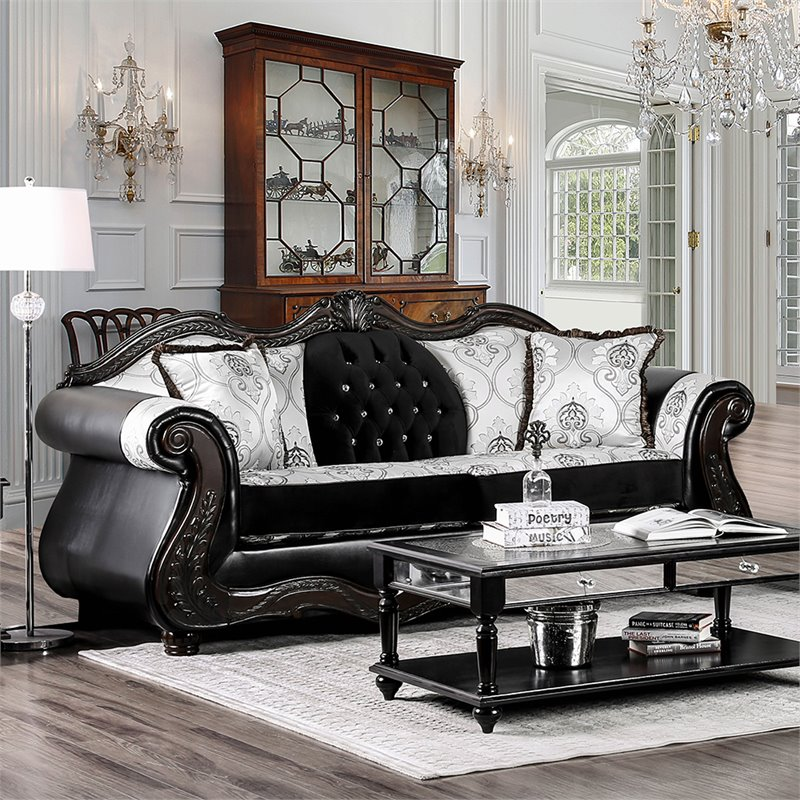 Furniture of America Lucy Faux Leather Sofa in Black and Champagne