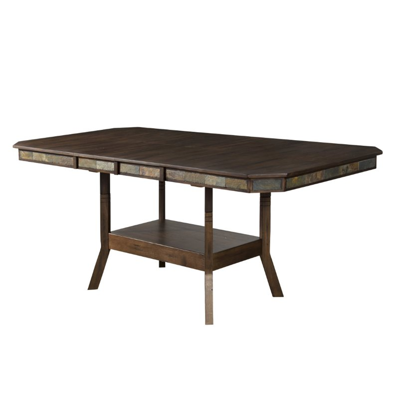 Sunny Designs Savannah 42 Extendable Dining Table in Antique Charcoal
