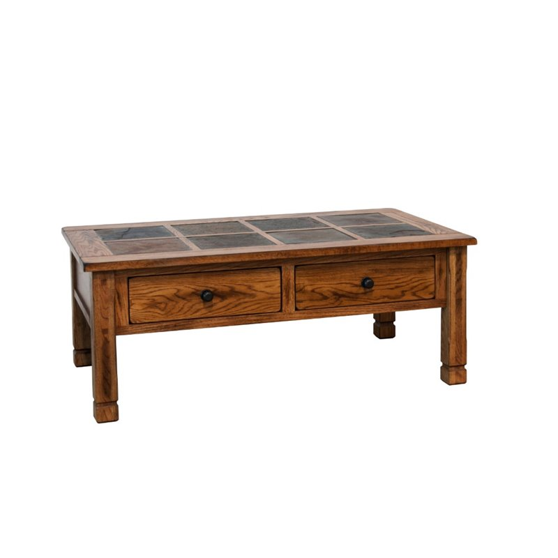 Slate Coffee Table With Drawers: Sunny Designs Sedona Slate Coffee Table In Rustic Oak