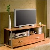 South Shore City Life 2 Drawer TV Stand in Charcoal and Honeydew Finish