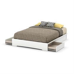 South Shore Basic Queen Platform Bed in Pure White