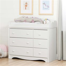 South Shore Angel 6 Drawer Changing Table Dresser in Pure White