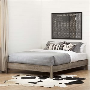 South Shore Munich Queen Platform Bed in Weathered Oak