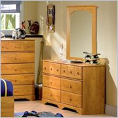 South Shore Amesbury Collection Double Dresser and Mirror Set in Pine