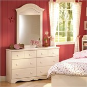 South Shore Summer Breeze Double Dresser and Mirror Set in White Wash