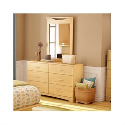 South Shore Copley Double Dresser and Mirror Set in Natural Maple