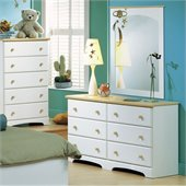 South Shore Newbury Collection Double Dresser and Mirror Set in White