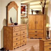 South Shore Prairie Double Dresser and Mirror Set in Country Pine