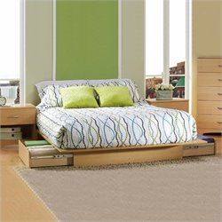 South Shore Copley Full / Queen Wood Storage Platform Bed 4 Piece Bedroom Set in Maple